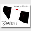 Because we fell in love, white personalized two states canvas
