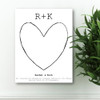 White love story personalized anniversary canvas