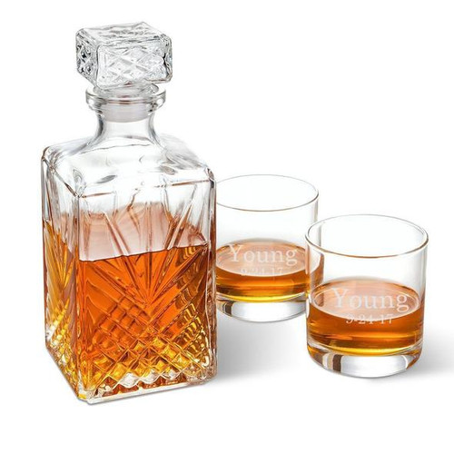 Anniversary Cut Glass Whiskey Decanter with personalized Glasses