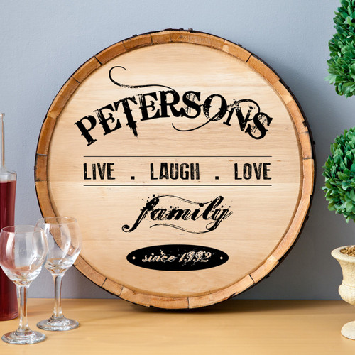 Live, laugh love - Personalized Anniversary Winery Sign