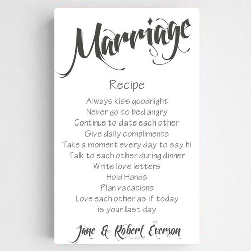Personalized Marriage Recipe Canvas with White background