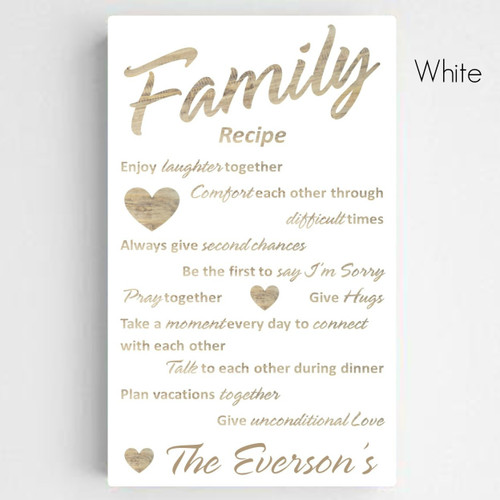 Personalized Family Recipe Canvas in White