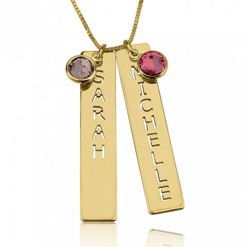 Two name and gemstone Gold plated necklace