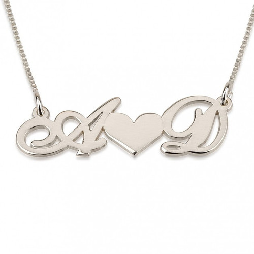 Couples Silver heart and initial necklace