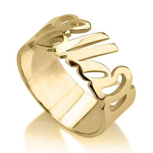 Personalized Gold Anniversary Ring with your lover's name