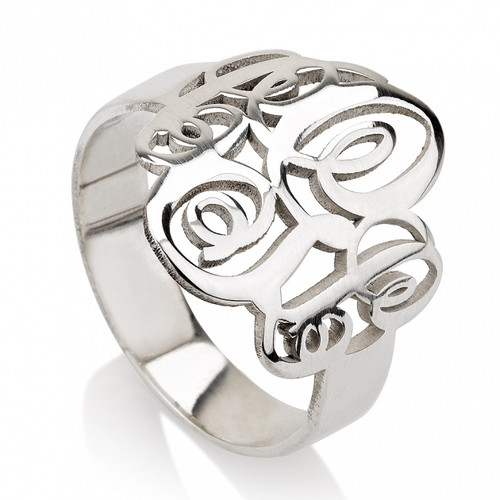 Silver Couple's Monogrammed Ring