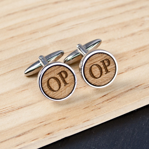 Personalized 5th Anniversary Wooden Cufflinks