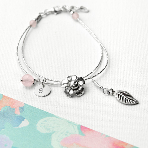 Personalized Silver Forget Me Not Anniversary Bracelet with Rose Quartz Anniversary Stones