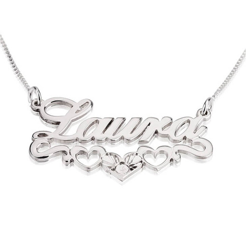 Silver heart and name necklace