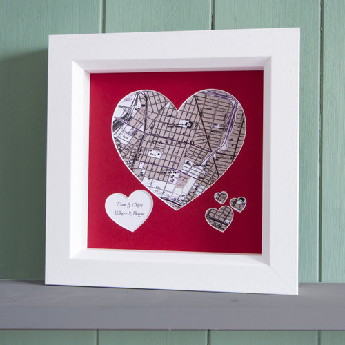 Personalized Heart map of your favorite place framed in white wood