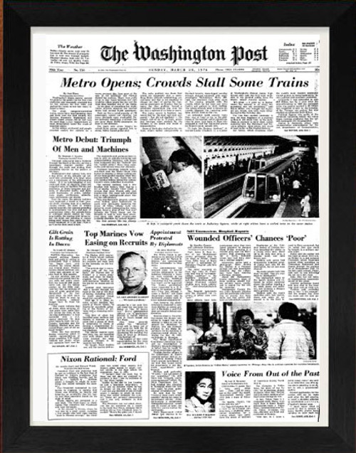 Front page of Washignton Post from 1966 framed