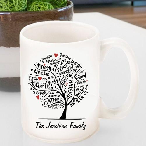 Personalized 20th Anniversary large family tree mug