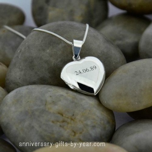 Personalized Silver Anniversary Date Locket