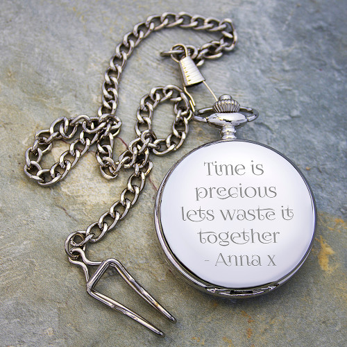 Personalized Anniversary Pocket Watch with love quote