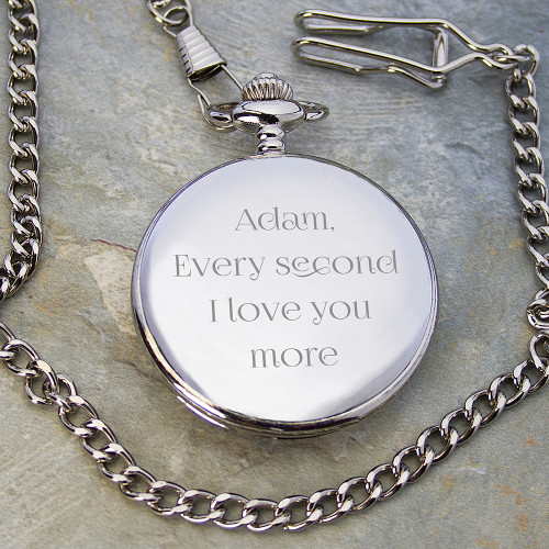 Engraved Silver Anniversary Pocket Watch