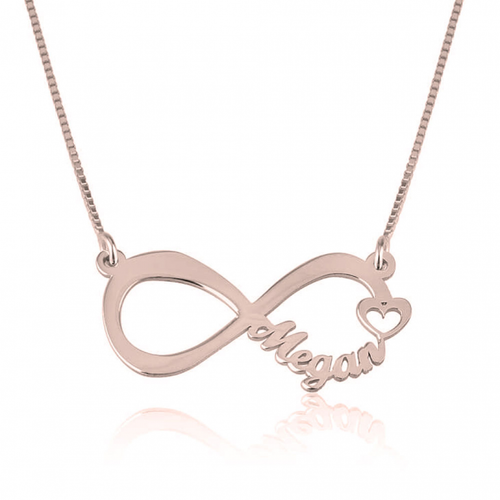 Rose gold Heart necklace engraved with her name
