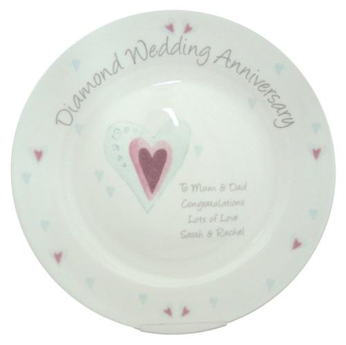 Personalized Diamond Anniversary Plate