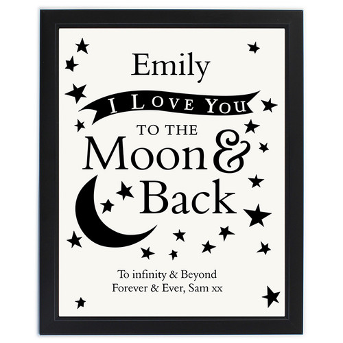 Personalized I Love You To The Moon & Back framed print
