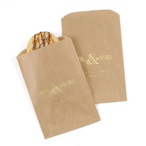 Personalized Golden Anniversary favor bags in kraft paper
