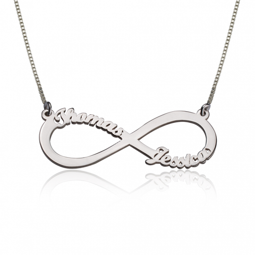 silver couples infinity necklace