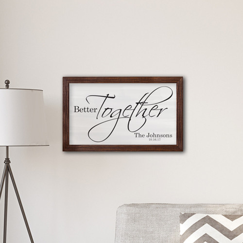 Better Together personalized canvas with your names and your wedding date