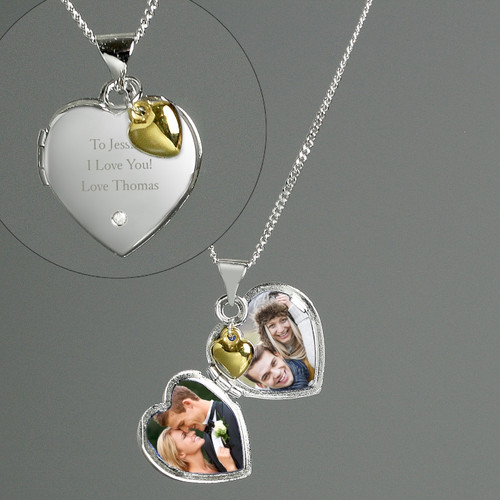 Personalized Silver and Gold Anniversary Heart Locket with Diamond