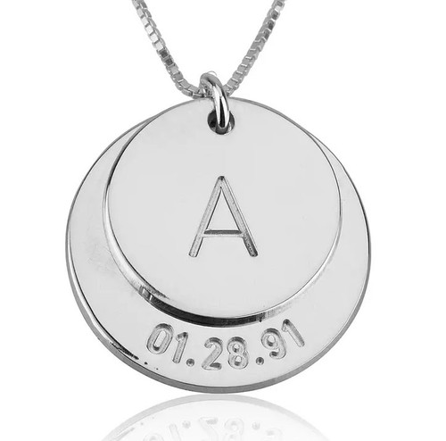 Personalized Wedding Date & Initial Silver Necklace