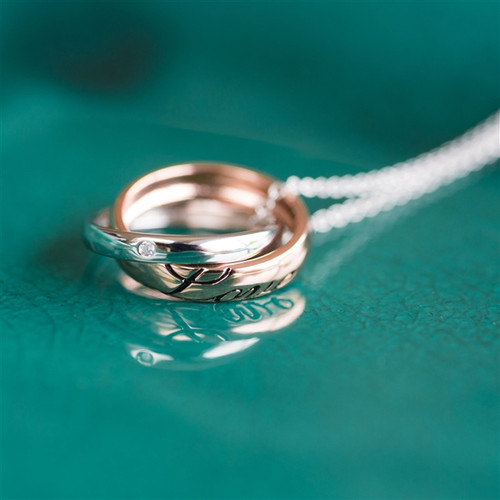 Anniversary Love Rings Necklace in Silver and Gold