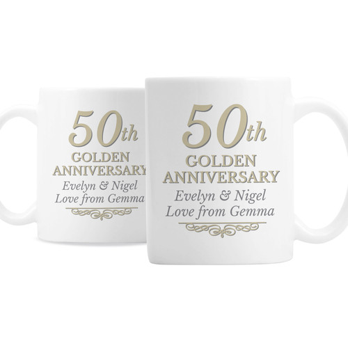 Personalized 50th Anniversary Mug Set