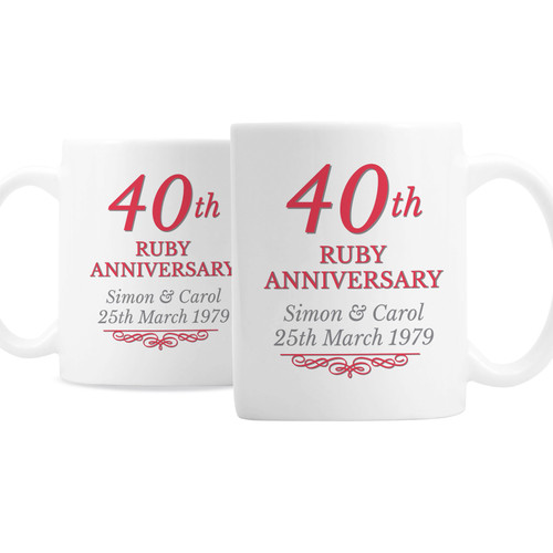 Personalized 40th Anniversary Mugs