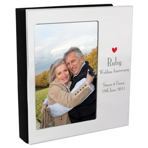 Personalized Ruby Anniversary Photo Frame And Album