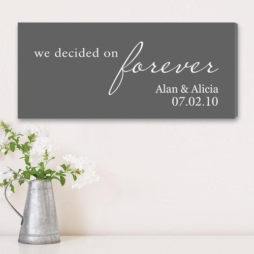 We Decided On Forever Personalized Canvas in Gray