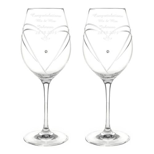 Pair of engraved Anniversary Wine Glasses
