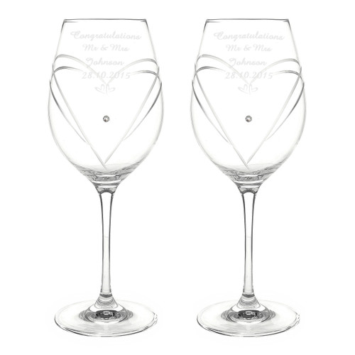 Pair of engraved Anniversary Wine Glasses