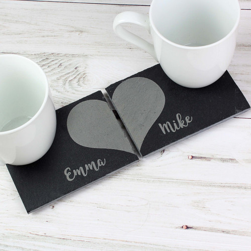 Pair of Personalized Slate Heart Coasters