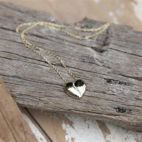 Solid Gold Heart necklace with 10 Anniversary Diamonds