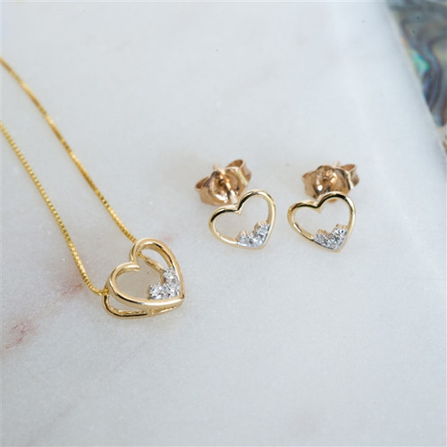 Gold Heart Diamond necklace and earrings set