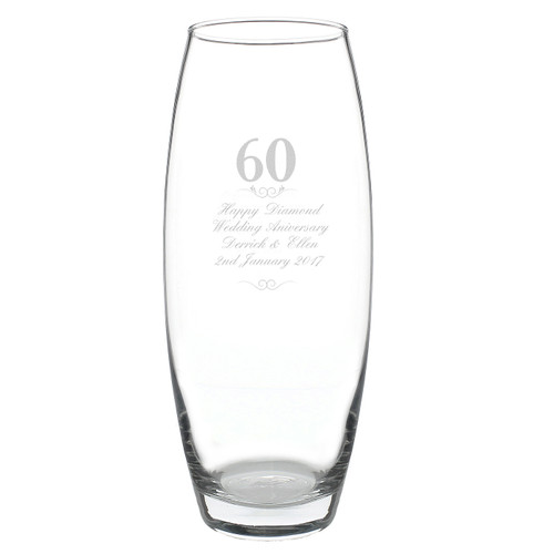 engraved 60th Anniversary vase