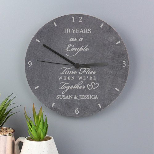 Personalized Slate Anniversary Clock for Couples