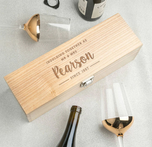 Personalized Couple's Wooden Wine Box