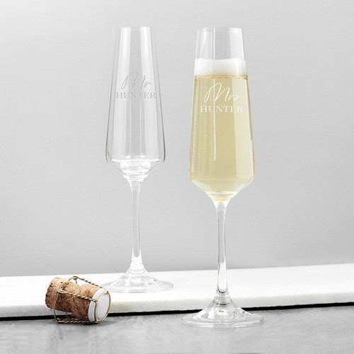 Couple's Personalized Crystal Champagne Glasses
