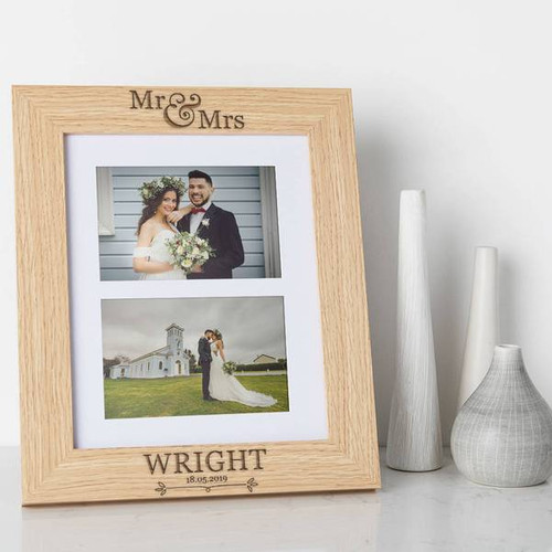Personalized large Wooden Photo Frame, engraved with your names and Wedding Date