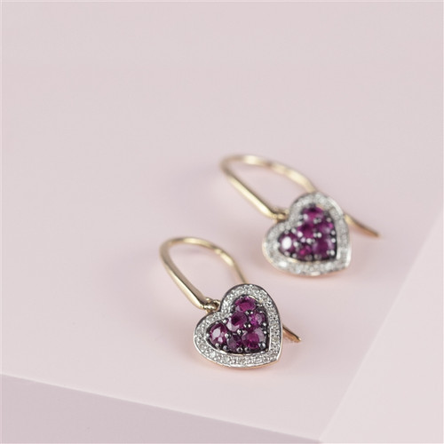 Ruby and Diamond Heart shaped earrings