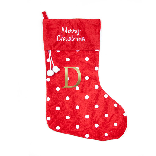 Personalized Red Christmas Stocking with Gold initial