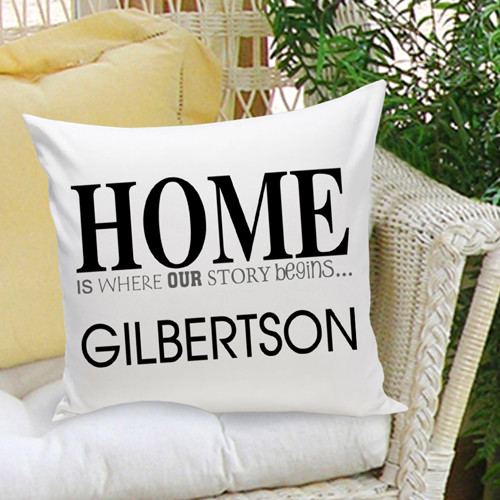 Personalized pillow -  Home is where our story begins