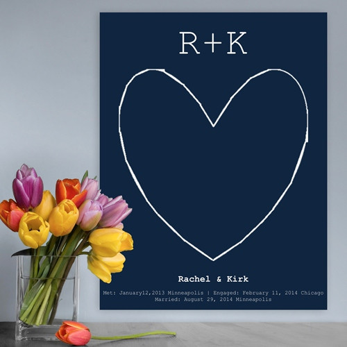 Navy blue personalized anniversary canvas