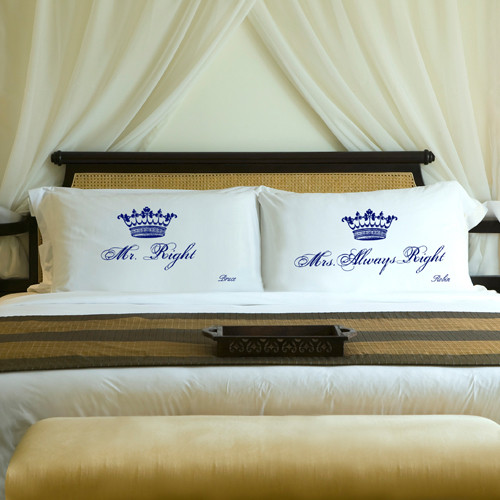 Mr and Mrs Always Right personalized pillows