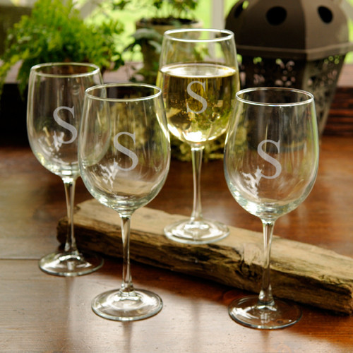 Personalized white wine glasses