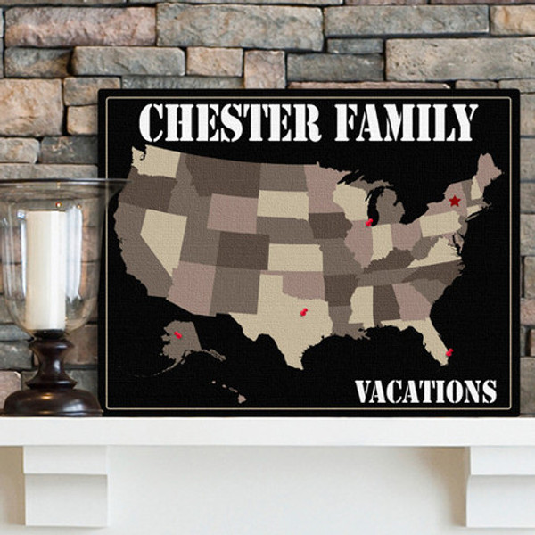 Personalized Anniversary Vacation Map