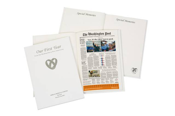 Personalized First Anniversary Book including a copy of the Washington Post from your wedding day.